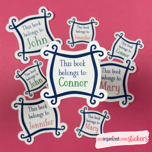 Custom name stickers to mark your books