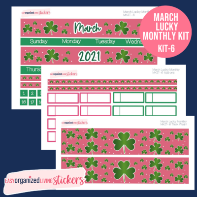 """Preppy pink and green St. Patrick's Day Planner Sticker Kit for 7x9"""" planners"""